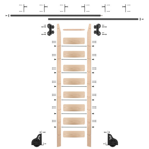 View a Larger Image of Standard Rolling 9-Foot Maple Ladder Kit with 12-Foot Rail and Vertical Brackets, Black