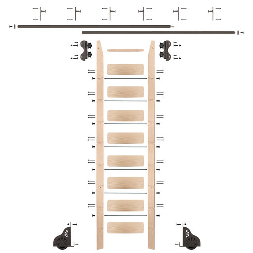 View a Larger Image of Standard Rolling 9-Foot Maple Ladder Kit with 12-Foot Rail and Vertical Brackets, Bronze