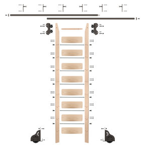 Standard Rolling 9-Foot Maple Ladder Kit with 12-Foot Rail and Vertical Brackets, Bronze