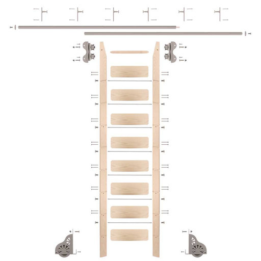 View a Larger Image of Standard Rolling 9-Foot Maple Ladder Kit with 12-Foot Rail and Vertical Brackets, Satin Nickel