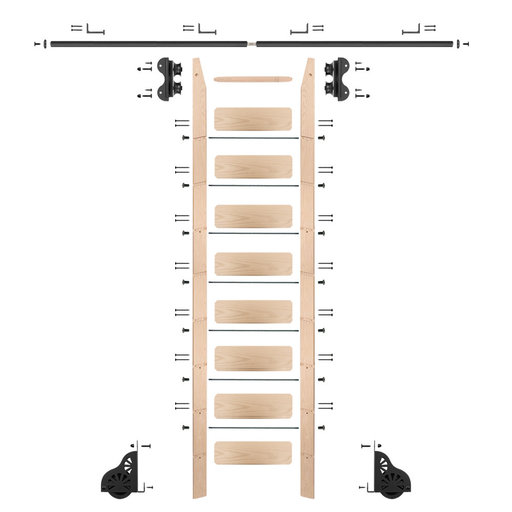 View a Larger Image of Standard Rolling 9-Foot Maple Ladder Kit with 8-Foot Rail and Horizontal Brackets, Black