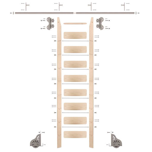 View a Larger Image of Standard Rolling 9-Foot Maple Ladder Kit with 8-Foot Rail and Horizontal Brackets, Satin Nickel