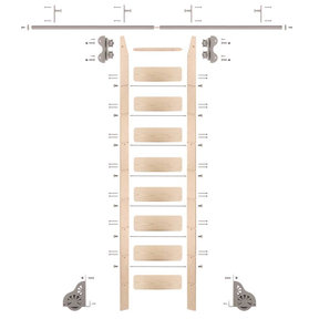 Standard Rolling 9-Foot Maple Ladder Kit with 8-Foot Rail and Horizontal Brackets, Satin Nickel