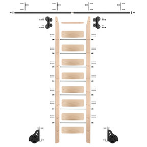 Standard Rolling 9-Foot Maple Ladder Kit with 8-Foot Rail and Vertical Brackets, Black