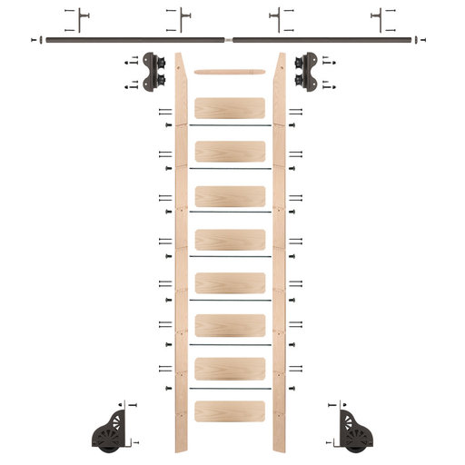 View a Larger Image of Standard Rolling 9-Foot Maple Ladder Kit with 8-Foot Rail and Vertical Brackets, Bronze