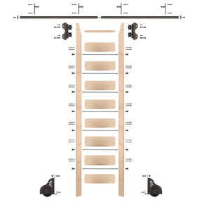 Standard Rolling 9-Foot Maple Ladder Kit with 8-Foot Rail and Vertical Brackets, Bronze