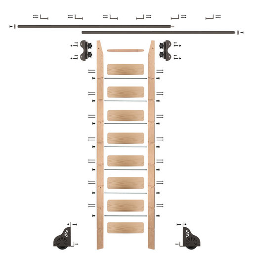 View a Larger Image of Standard Rolling 9-Foot Red Oak Ladder Kit with 12-Foot Rail and Horizontal Brackets, Bronze
