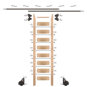 Standard Rolling 9-Foot Red Oak Ladder Kit with 12-Foot Rail and Horizontal Brackets, Bronze