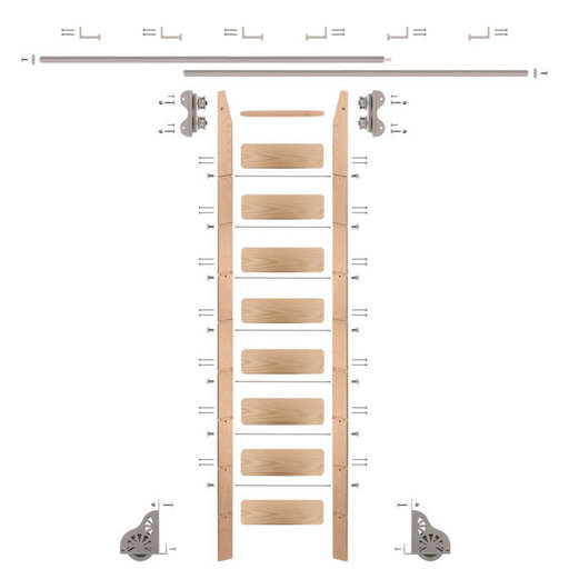 View a Larger Image of Standard Rolling 9-Foot Red Oak Ladder Kit with 12-Foot Rail and Horizontal Brackets, Satin Nickel