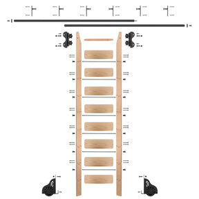 Standard Rolling 9-Foot Red Oak Ladder Kit with 12-Foot Rail and Vertical Brackets, Black