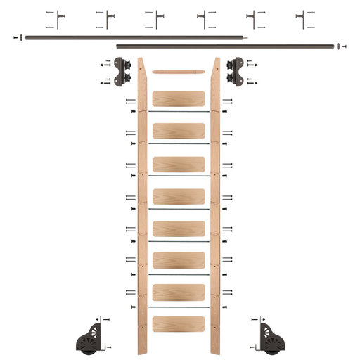 View a Larger Image of Standard Rolling 9-Foot Red Oak Ladder Kit with 12-Foot Rail and Vertical Brackets, Bronze