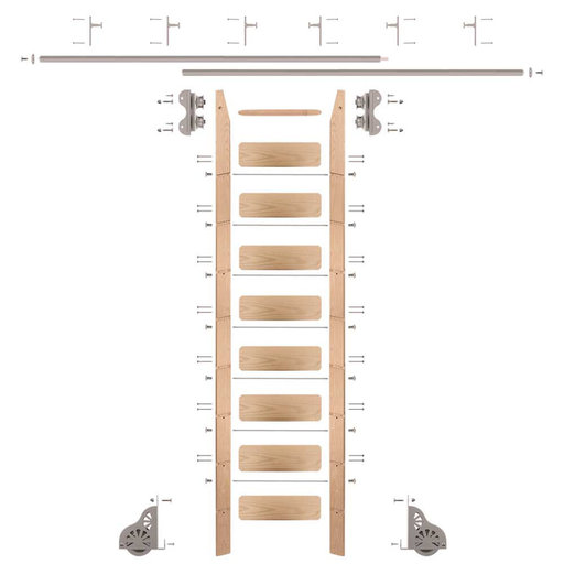 View a Larger Image of Standard Rolling 9-Foot Red Oak Ladder Kit with 12-Foot Rail and Vertical Brackets, Satin Nickel