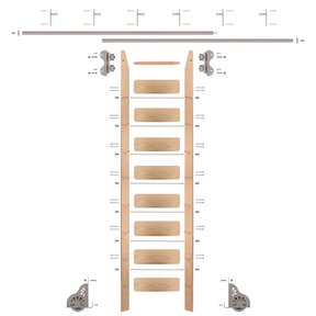 Standard Rolling 9-Foot Red Oak Ladder Kit with 12-Foot Rail and Vertical Brackets, Satin Nickel