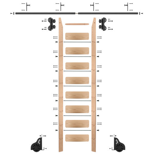 View a Larger Image of Standard Rolling 9-Foot Red Oak Ladder Kit with 8-Foot Rail and Vertical Brackets, Black