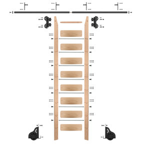 Standard Rolling 9-Foot Red Oak Ladder Kit with 8-Foot Rail and Vertical Brackets, Black