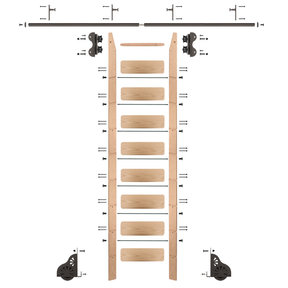 Standard Rolling 9-Foot Red Oak Ladder Kit with 8-Foot Rail and Vertical Brackets, Bronze