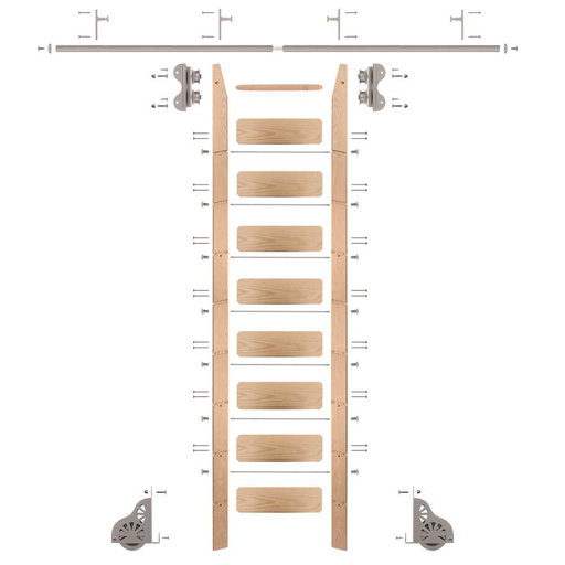 View a Larger Image of Standard Rolling 9-Foot Red Oak Ladder Kit with 8-Foot Rail and Vertical Brackets, Satin Nickel