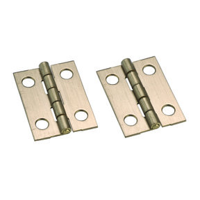 "Miniature Narrow Solid Brass Hinge Ab Finish 1"" L x 3/4"" Open w/screws Pair"