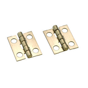 "Miniature Narrow Solid Brass Hinge Ab Finish 3/4"" L x 5/8"" Open w/screws Pair"