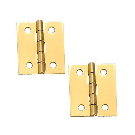 "View a Larger Image of Solid Brass Miniature Broad Hinge 1-1/2"" Long x 1-1/4"" Open w/screws, Pair"