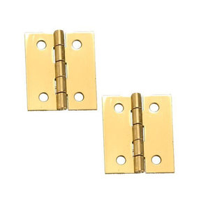 "Solid Brass Miniature Broad Hinge 1-1/2"" Long x 1-1/4"" Open w/screws, Pair"
