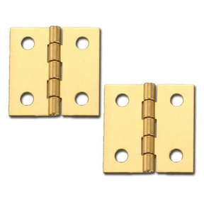"Solid Brass Miniature Broad Hinge1"" Long x 1"" Open w/screws, Pair"
