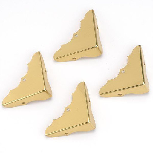 "View a Larger Image of Solid Brass Miniature Decorative Corners 5/8"" x 1-3/4"" w/screws, 4 pack"