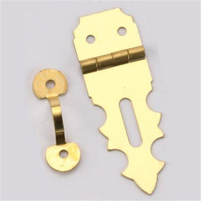 "Solid Brass Miniature Decorative Hasp 5/8"" L x 1-7/8"" Open with Fasteners"