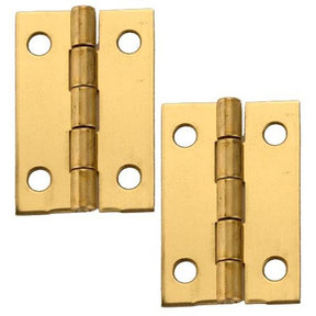 "Solid Brass Miniature Medium Hinge 1-1/2"" Long x 1"" Open w/screws, Pair"