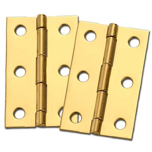 "View a Larger Image of Miniature Medium Solid Brass Hinge 2-1/2"" L x 1-9/16"" Open w/screws Pair"
