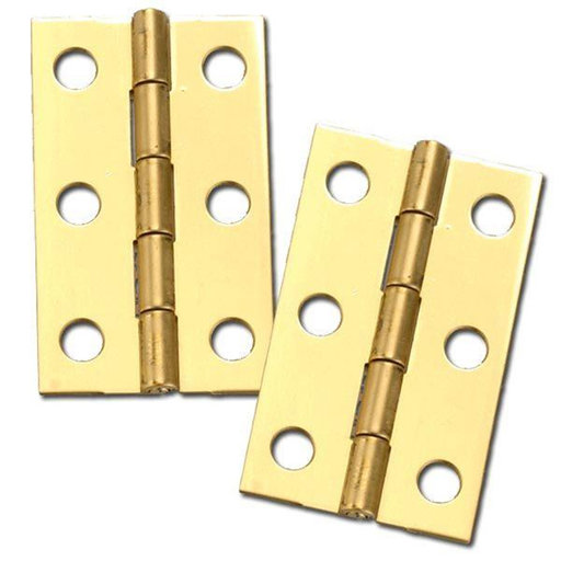 "View a Larger Image of Solid Brass Miniature Medium Hinge 2"" Long x 1-3/16"" Open w/screws, Pair"