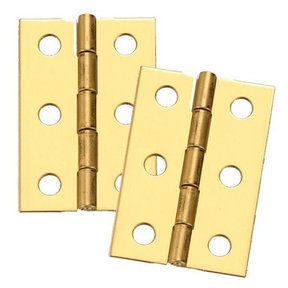 "Miniature Medium Solid Brass Hinge 2"" L x 1-3/8"" Open w/screws Pair"