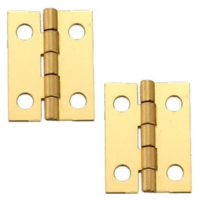 "Solid Brass Miniature Medium Hinge 3/4"" Long x 1"" Open w/screws, 2 Pair"