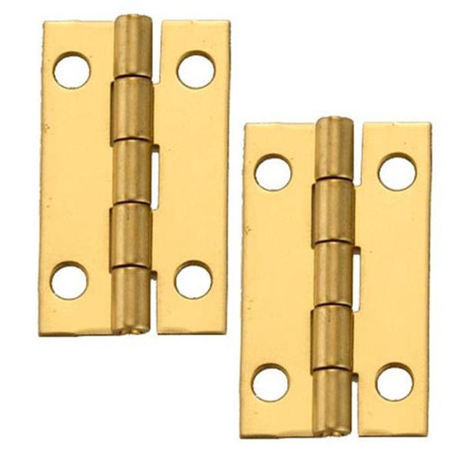 "View a Larger Image of Miniature Narrow Solid Brass Hinge 1-1/2"" L x 7/8"" Open w/screws Pair"
