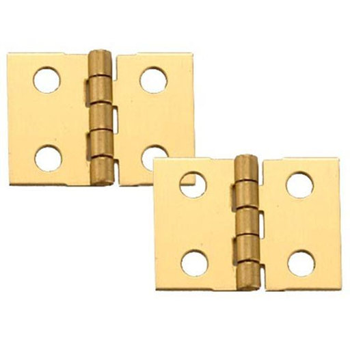 "View a Larger Image of Solid Brass Miniature Narrow Hinge 1"" Long x 3/4"" Open w/screws, 2 Pair"