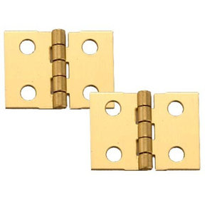 "Solid Brass Miniature Narrow Hinge 1"" Long x 3/4"" Open w/screws, 2 Pair"