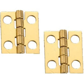 "Solid Brass Miniature Narrow Hinge 3/4"" Long x 5/8"" Open w/screws, 2 Pair"