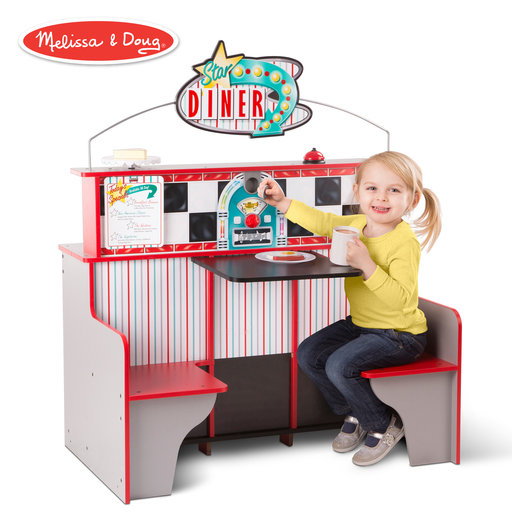 View a Larger Image of Star Diner Restaurant, Play Set & Kitchen, Wooden Diner Play Set, Two Play Spaces in One