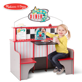 Star Diner Restaurant, Play Set & Kitchen, Wooden Diner Play Set, Two Play Spaces in One