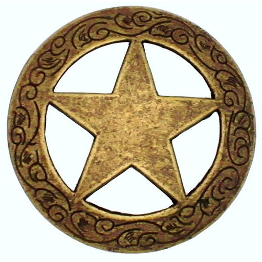 View a Larger Image of Star Knob with Engraved Edge, Brass Oxide