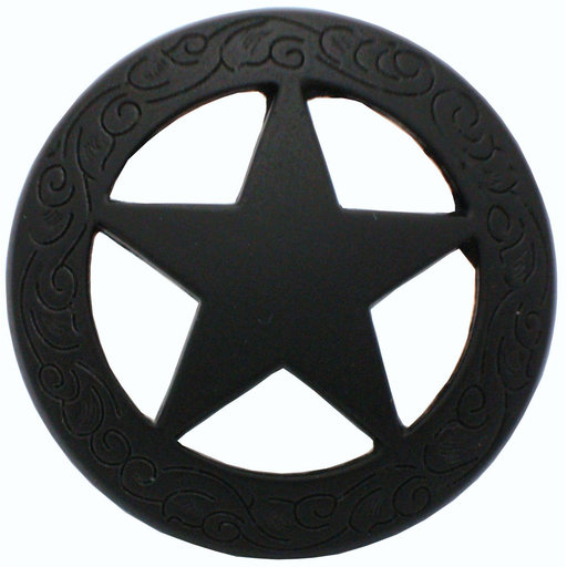 View a Larger Image of Star Knob with Engraved Edge, Matte Black