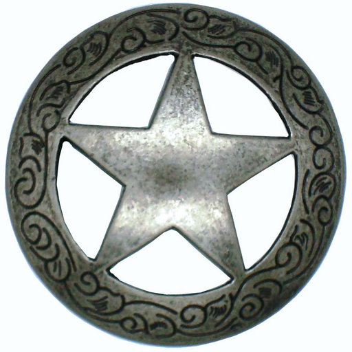 View a Larger Image of Star Knob with Engraved Edge, Nickel Oxide