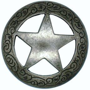 Star Knob with Engraved Edge, Nickel Oxide