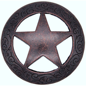 Star Knob with Engraved Edge, Rust Copper