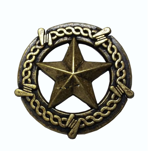 View a Larger Image of Star with Barbed Wire Knob, Brass Oxide