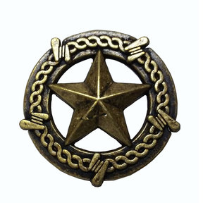 Star with Barbed Wire Knob, Brass Oxide