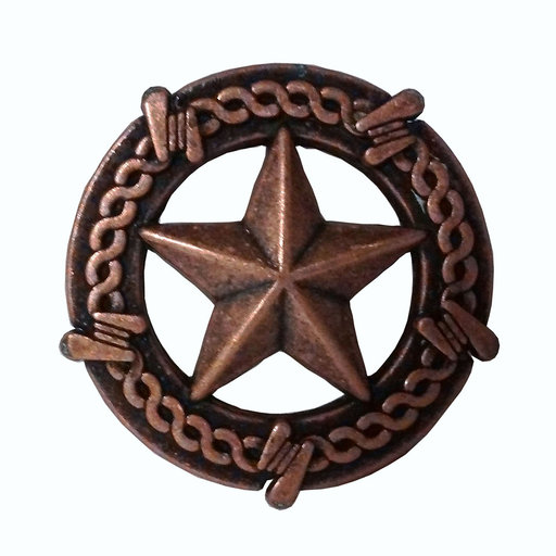 View a Larger Image of Star with Barbed Wire Knob, Copper Oxide