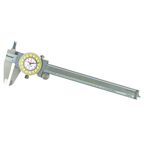 "Stainless Steel White/Yellow Dial Caliper 0-6"" Fractional Range"