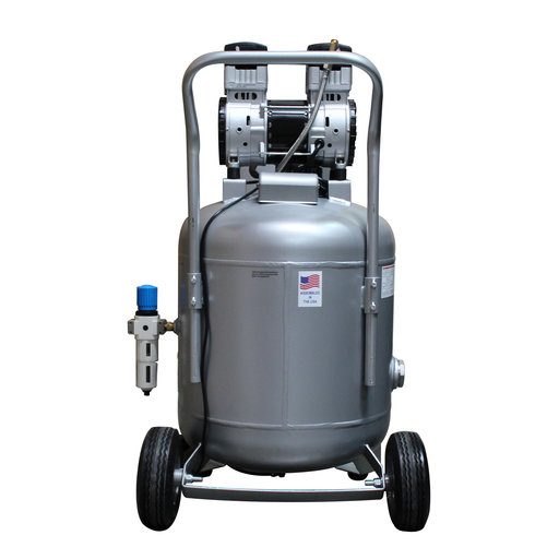 View a Larger Image of Steel Tank Air Compressor, with Automatic Drain Valve, 30020CAD-22060, Ultra Quiet  & Oil-Free, 2.0 Hp, 30 gallon, 220v