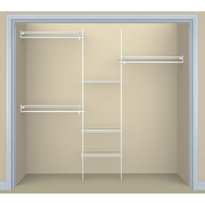 SuperSlide Closet Organizer Kit 5'- 8' W Fixed Mount, White